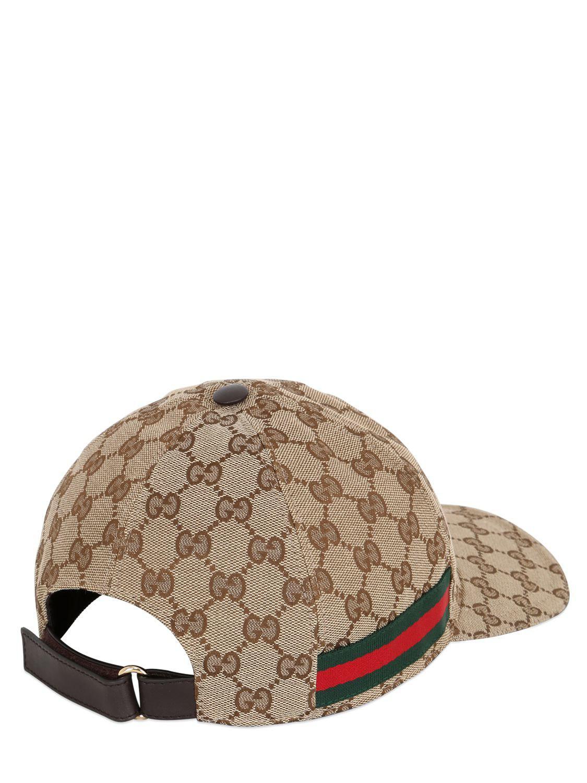 Lyst - Gucci Gg Supreme Logo Canvas Baseball Hat in Natural for Men ... 1913958c640