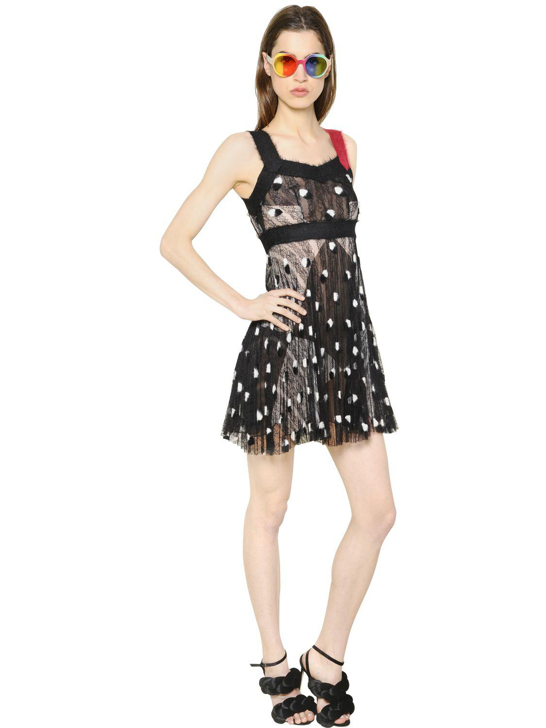 Pleated Mohair Embroidered Lace Dress