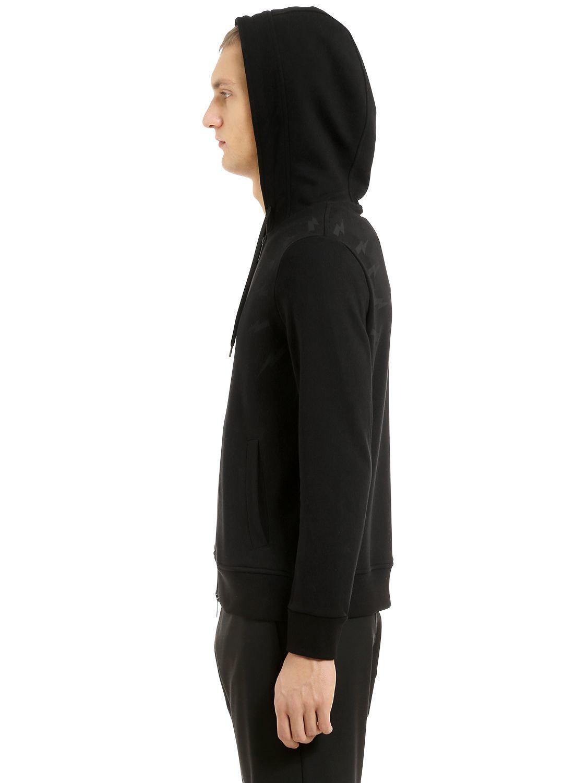 Neil Barrett Bolts Hooded Zip-up Jersey Sweatshirt in Black for Men