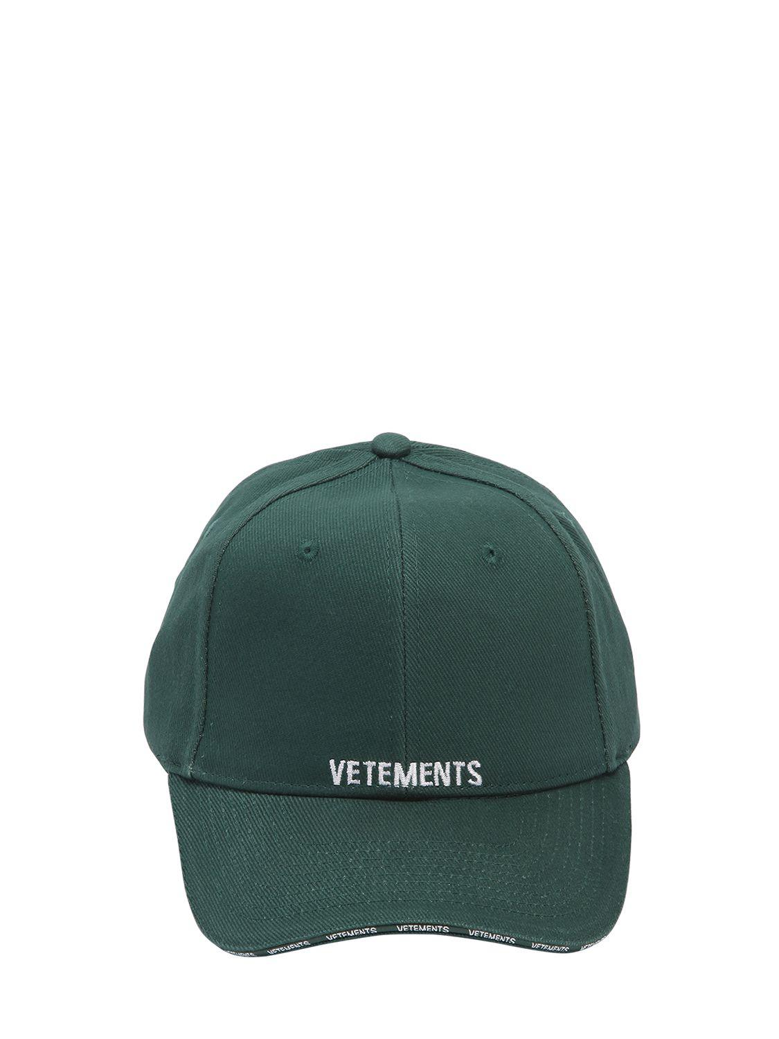 Lyst - Vetements Logo Embroidered Canvas Hat in White for Men ddfe08a4bd4b