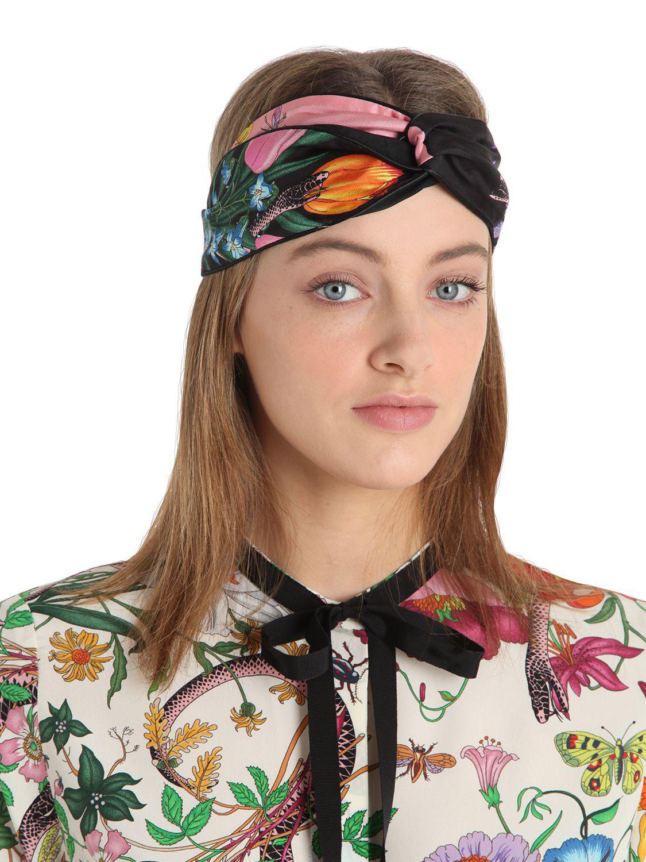 e5225e271a8 Lyst - Gucci Floral Snake Silk Headband in Black