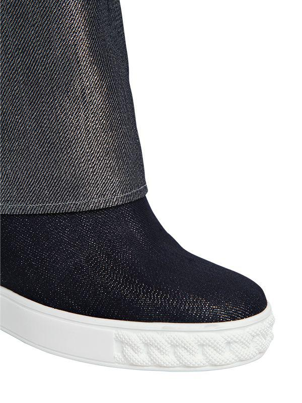 Casadei 80MM GLITTER EFFECT WEDGE SNEAKERS WCoQBvS4