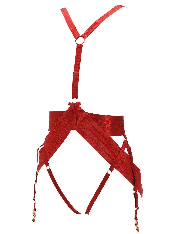 """Arnés """"Asobi"""" De Satén Elástico Bordelle de color Rojo"""
