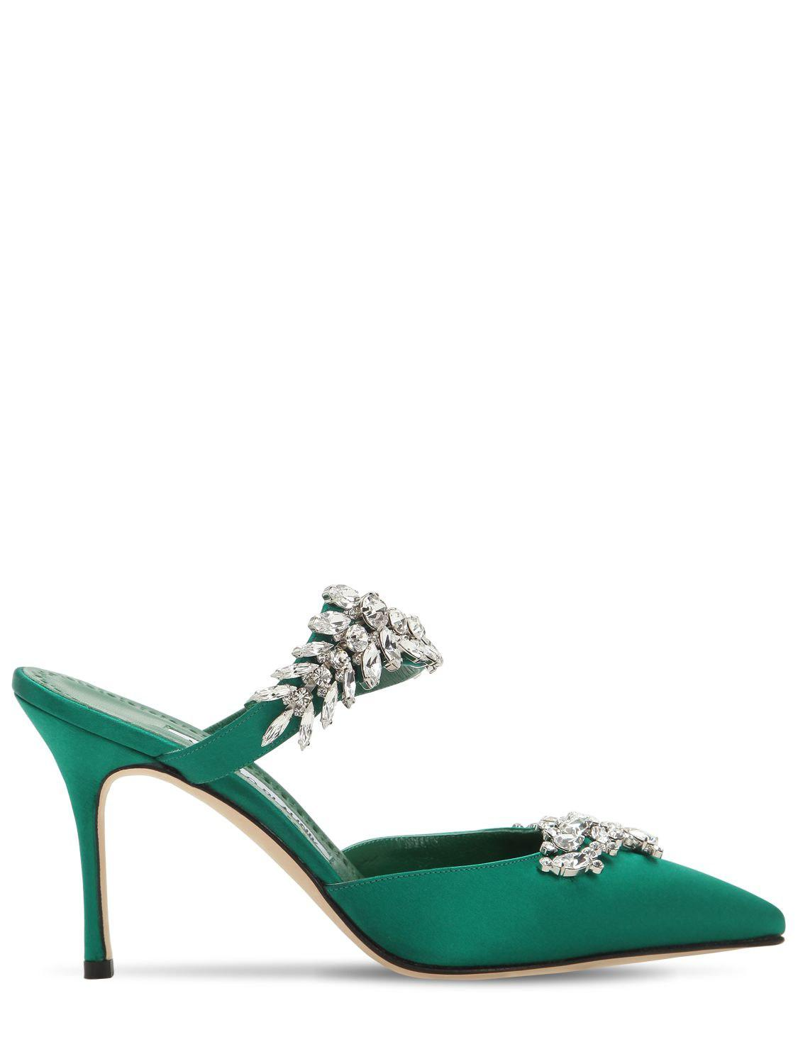 694175b1b29 Lyst - Manolo Blahnik Lurum 90 Emerald Satin Pumps in Green - Save 45%
