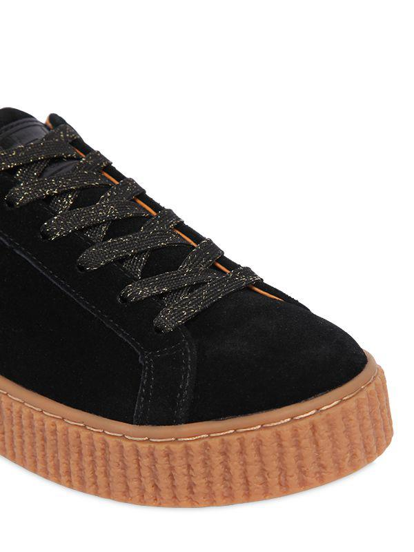 Black Low Heel Lurex Shoes