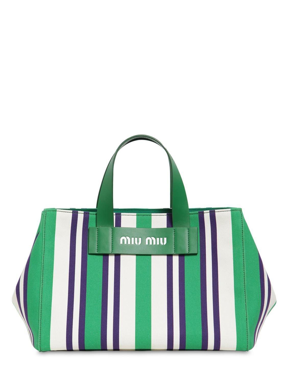 Lyst - Miu Miu Medium Striped Canvas Tote Bag in Green 16bad72ede9eb