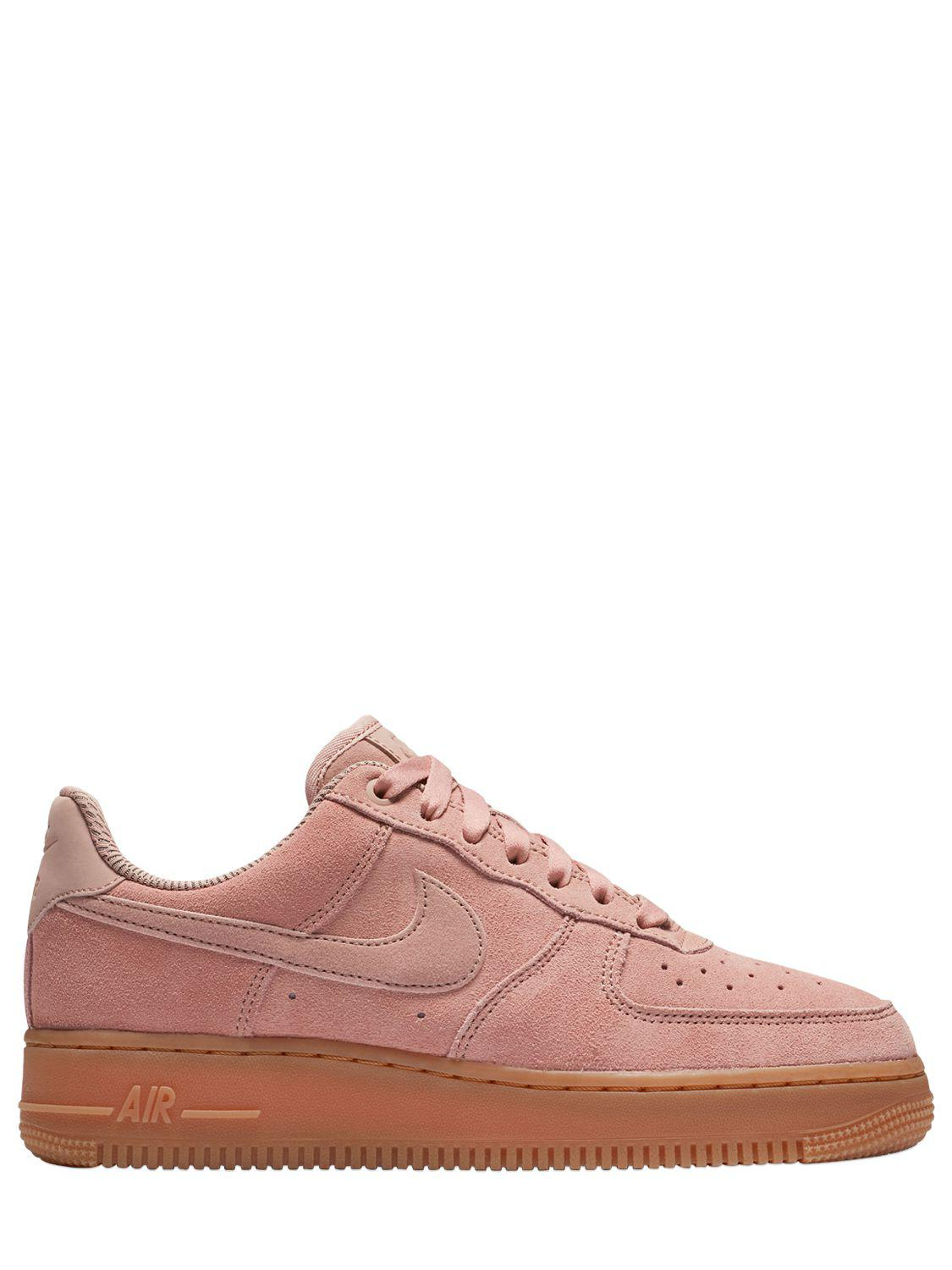 lyst nike air force 1 suede to gum sneakers in pink save 20. Black Bedroom Furniture Sets. Home Design Ideas
