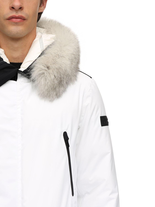 sports shoes 08e5d 1559e Men's White Artic Nylon Down Jacket W/ Fur