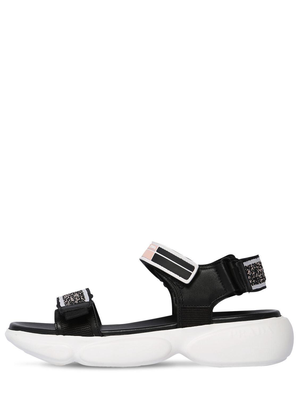 8adb0c8204f95 Prada 40mm Cloudbust Knit   Leather Sandals in Black - Save 3% - Lyst