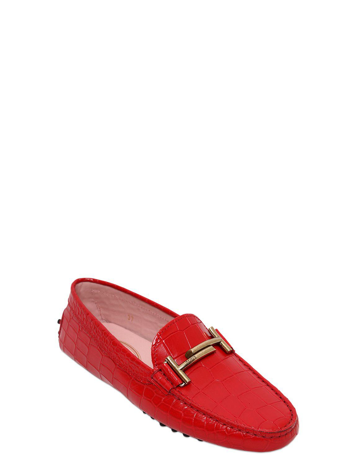 Tod's GOMMINO DOUBLE T CROC EMBOSSED LOAFERS fo4QFAL9MK