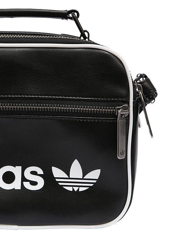 c971bf07f7 adidas Originals Mini Airliner Vintage Faux Leather Bag in Black - Lyst