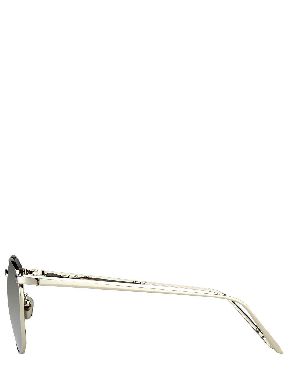 Linda Farrow Platinum Plated Mirrored Sunglasses in Silver (Metallic) for Men
