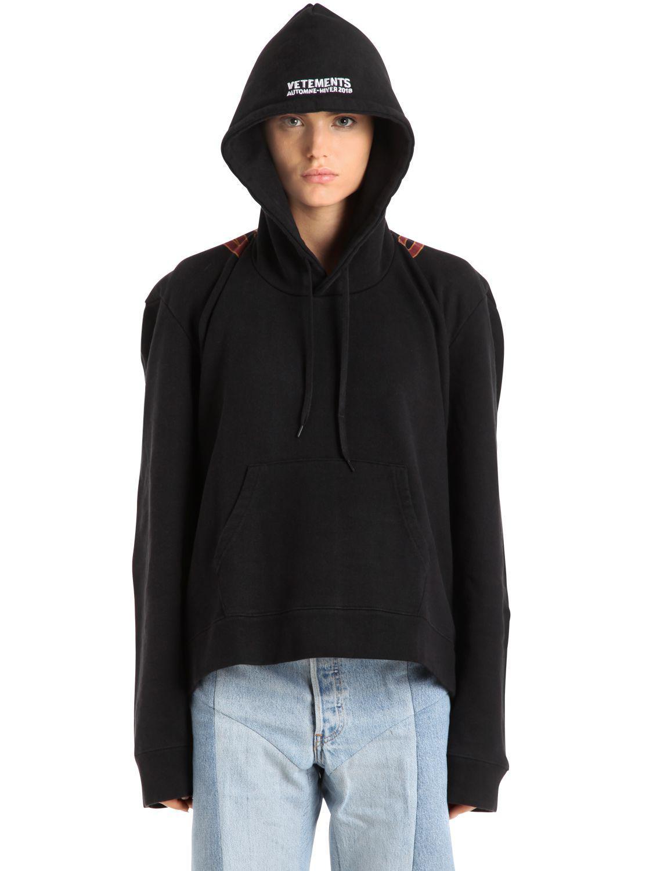 2fbfa730 Vetements Logo Printed Hooded Cotton Sweatshirt in Black - Lyst