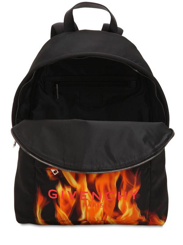 84b878df40 Givenchy Flame   Logo Printed Nylon Backpack in Black for Men - Lyst