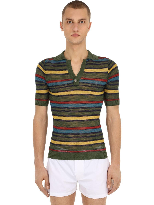 2659a677e1fec9 Jacquemus Le Polo Rayé Cotton Blend Knit Shirt in Green for Men - Lyst