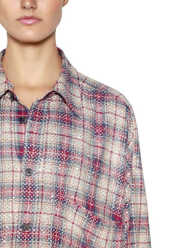 67ff92958b Faith Connexion Oversize Studded Check Cotton Shirt - Lyst