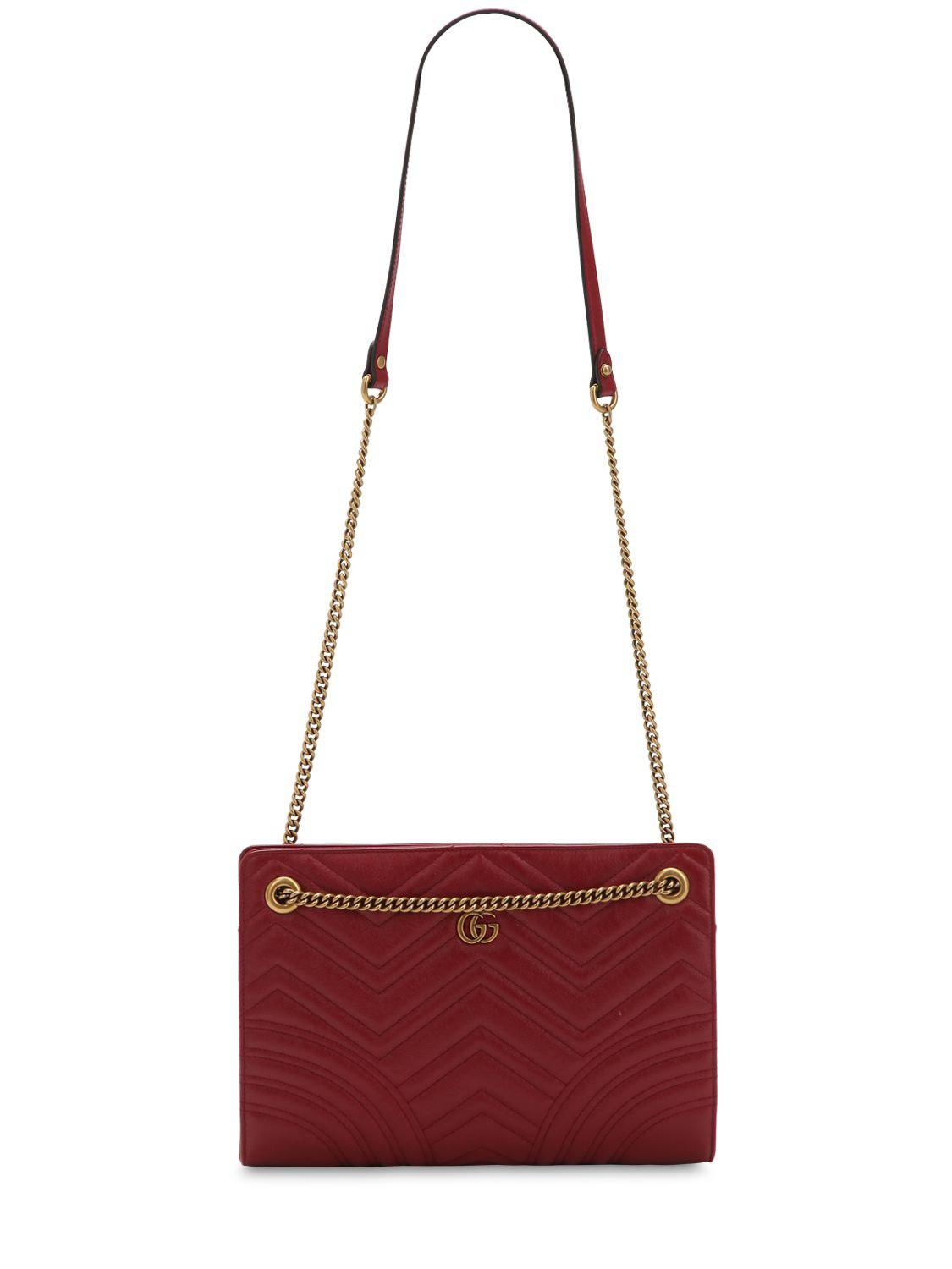 504e0186ae0a2 Lyst - Gucci Gg Marmont Leather Shoulder Bag in Red