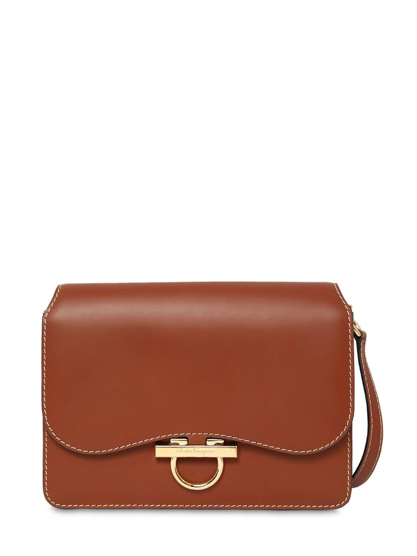 34dc5295740c Lyst - Ferragamo Joanne Smooth Leather Shoulder Bag in Brown