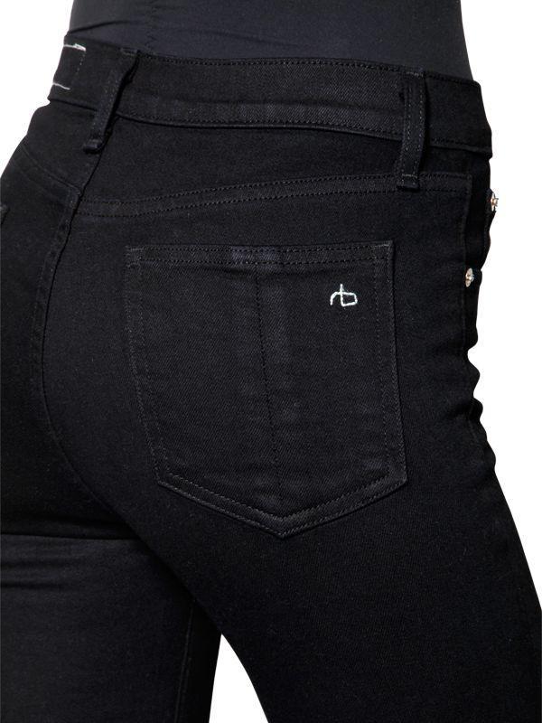 Rag & Bone Skinny Denim Jeans W/ Raw Cut Hem in Black