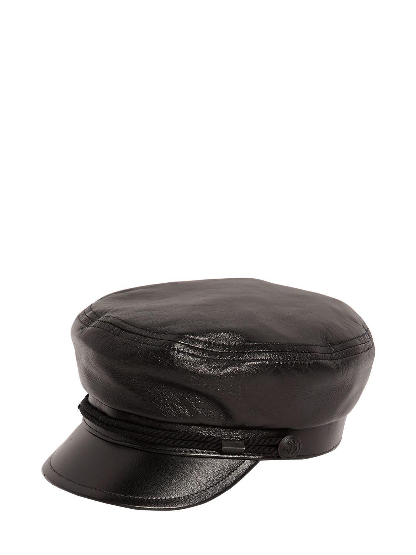 e40b44657f7 Lyst - Saint Laurent Chapeau Marine Leather Hat in Black