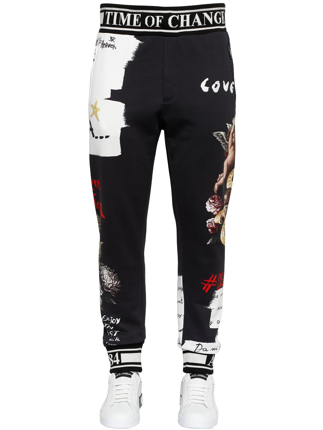 d103b816fb3ef Lyst - Dolce   Gabbana Angels Printed Cotton Jersey Sweatpants in ...