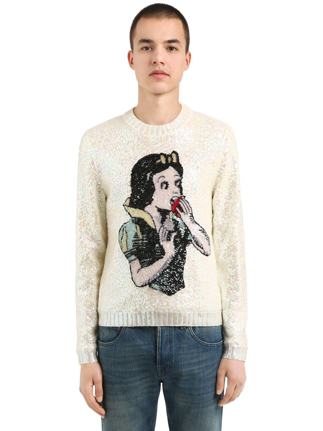 f34e2b81a4a Lyst - Gucci Sequined Snow White Wool Sweater in White for Men