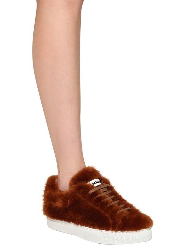 Jil Sander 20mm Merino Fur Sneakers in Brown