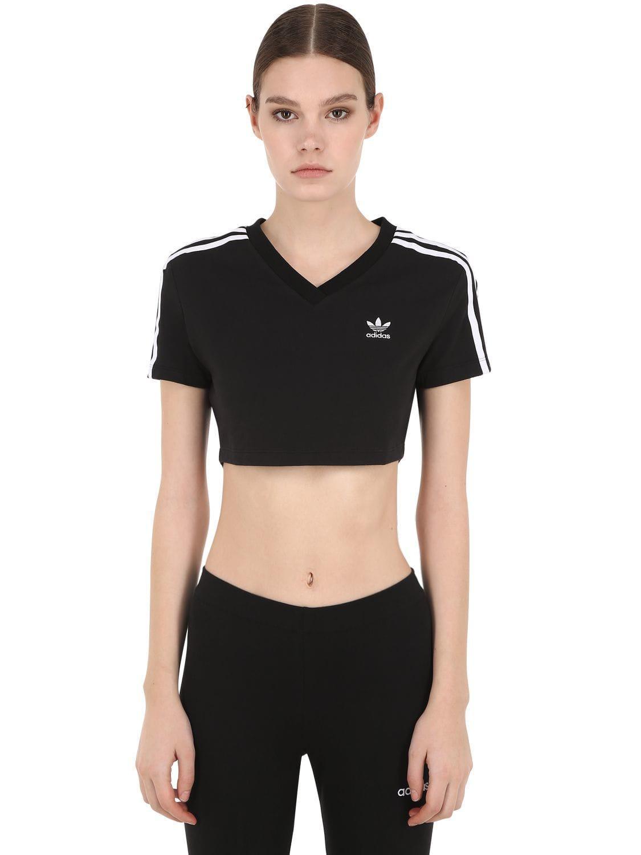 1c795ebc2633a7 Lyst - Adidas Originals Cropped Cotton Blend T-shirt in Black