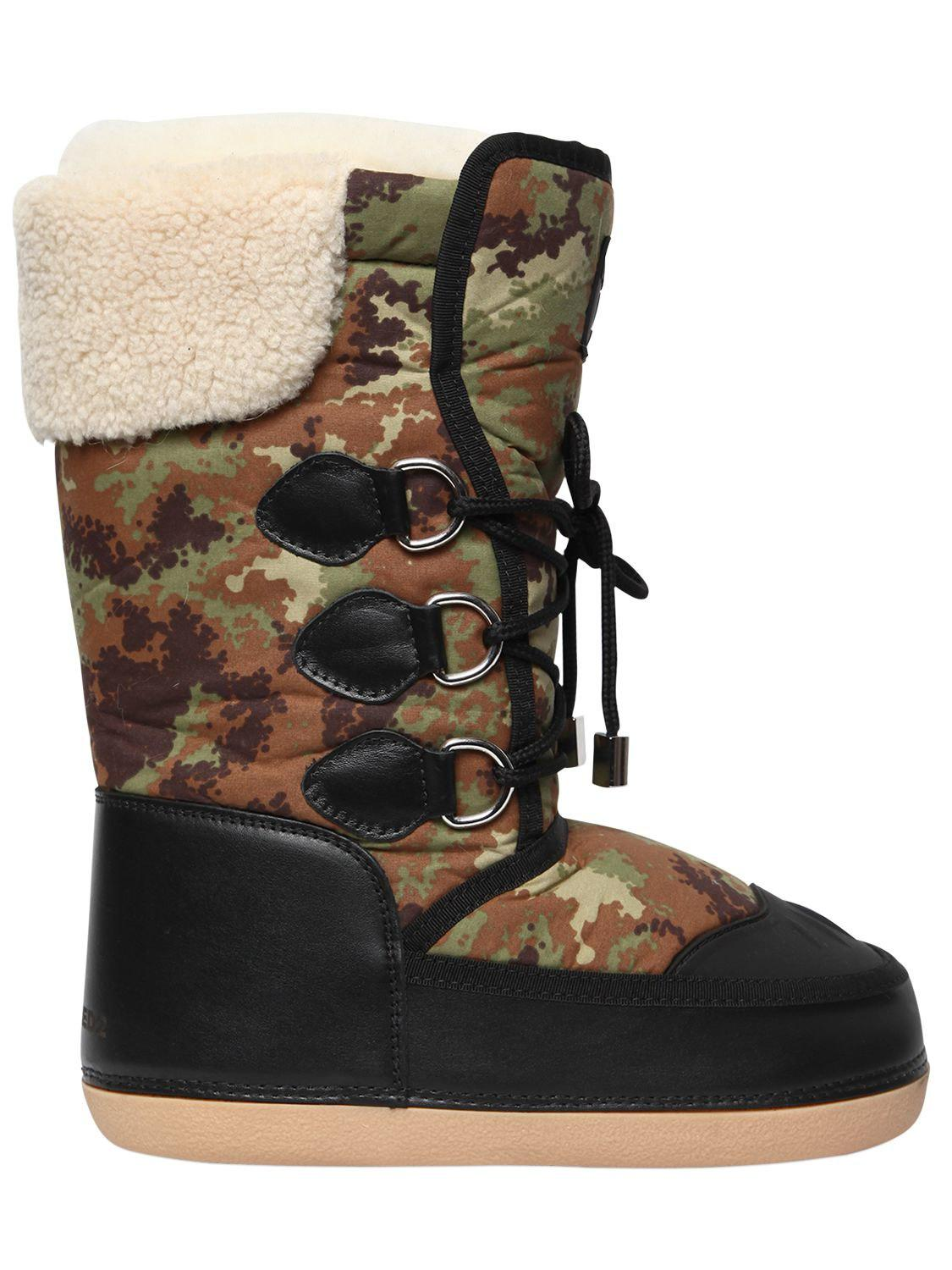 Dsquared2 NYLON & FAUX LEATHER BOOTS IErjW