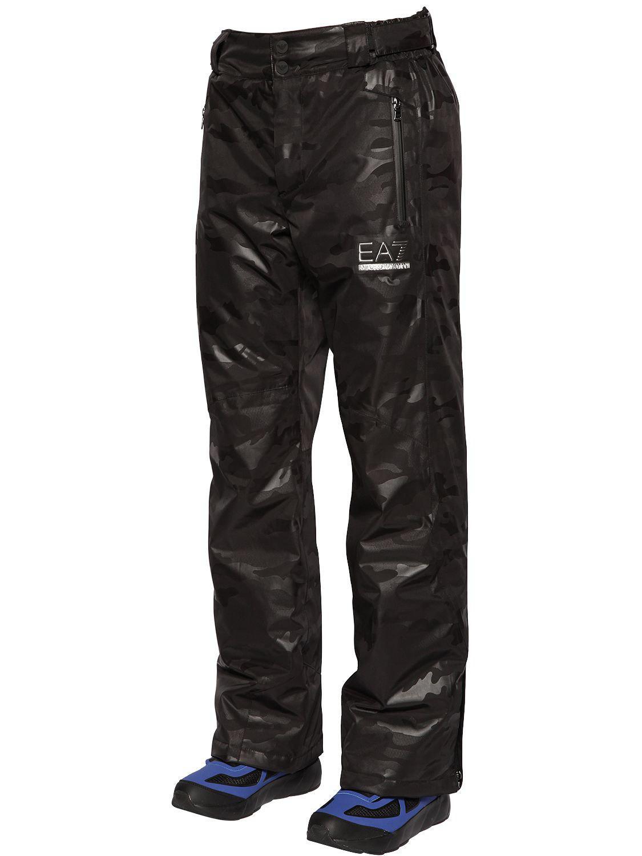 EA7 Synthetic Ski Camo Waterproof Pants in Black Camo ...