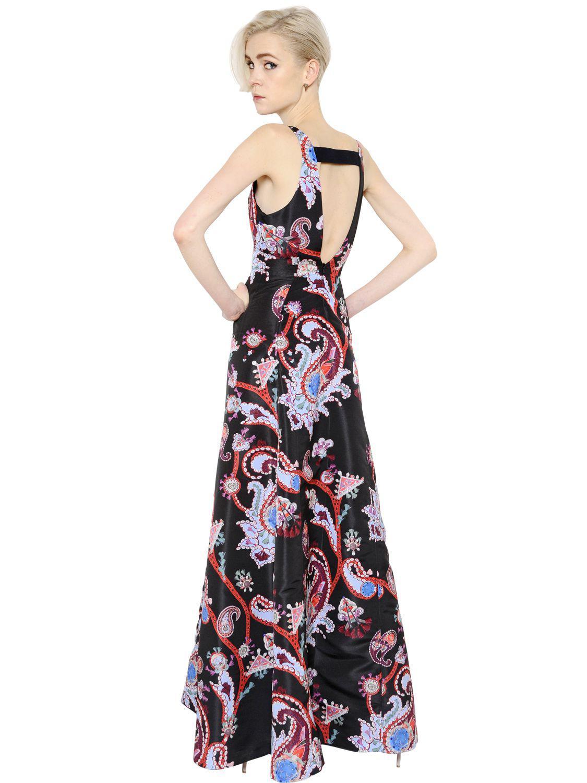 Mary Katrantzou Paisley Printed Silk Twill Dress in Black