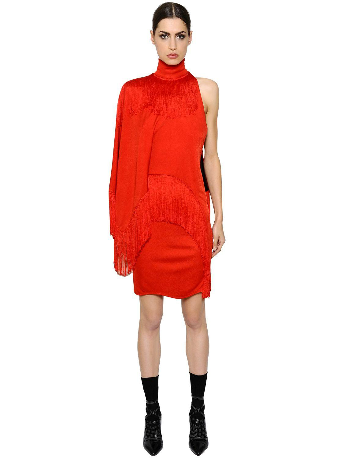 Givenchy Woman One-shoulder Fringed Jersey Turtleneck Mini Dress Red Size 36 Givenchy joIFvuV