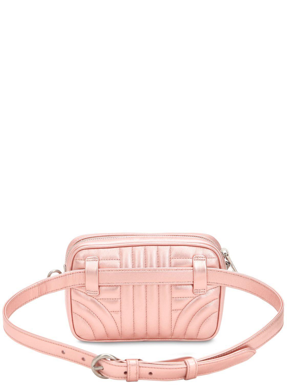 abe9b9c9563 Prada Pink Quilted Metallic Leather Belt Pack