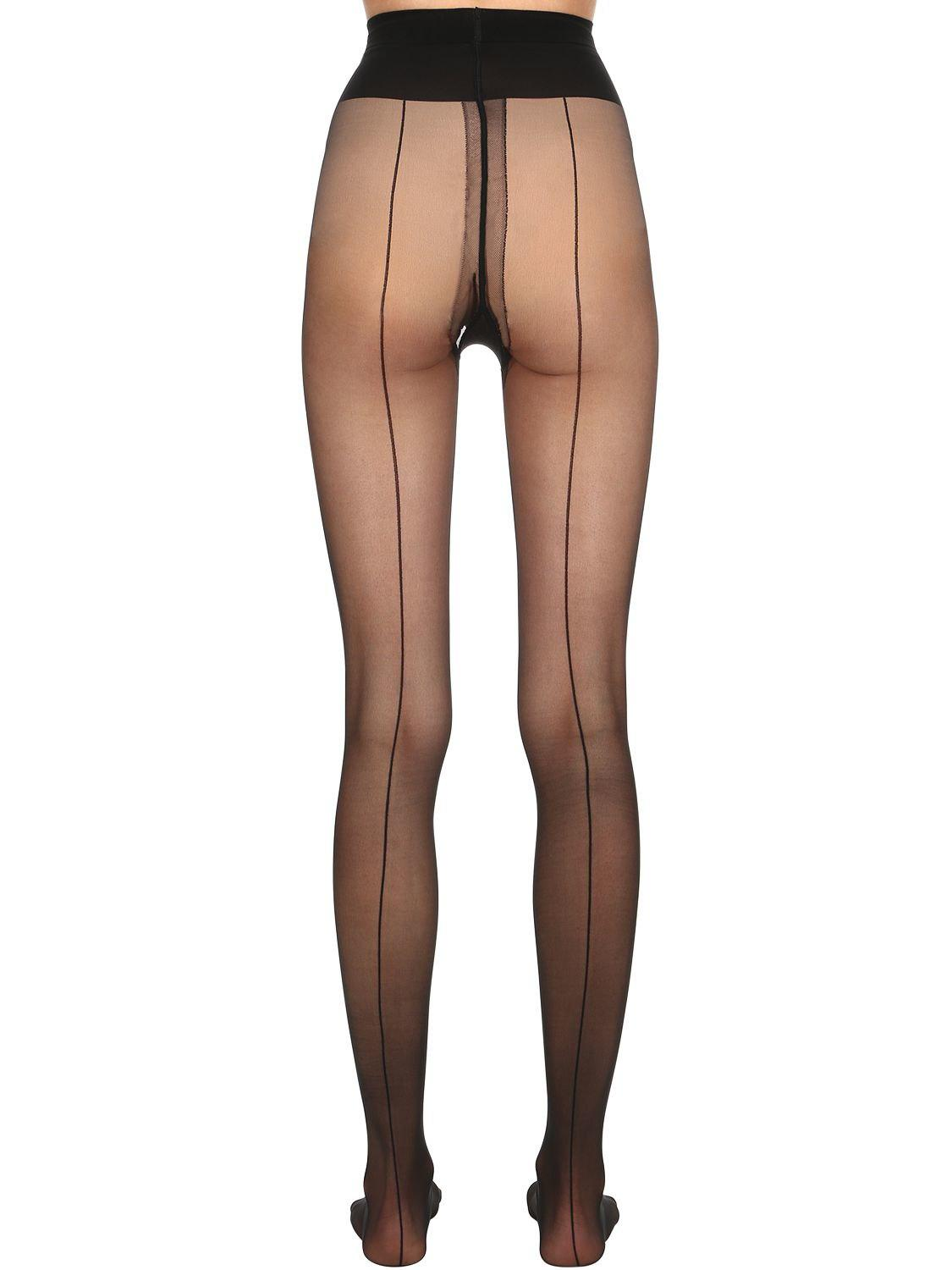 71f64e8d06b Wolford Individual 10 Den Back Seam Tights in Black - Lyst