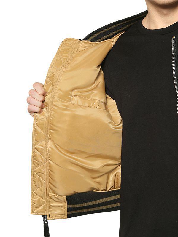 Alpha Industries Slim Dragon Embroidered Bomber Jacket in Black for Men