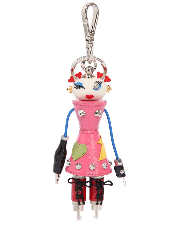 Prada Nana Robot Bag Charm in Pink - Lyst 842488d4bb823