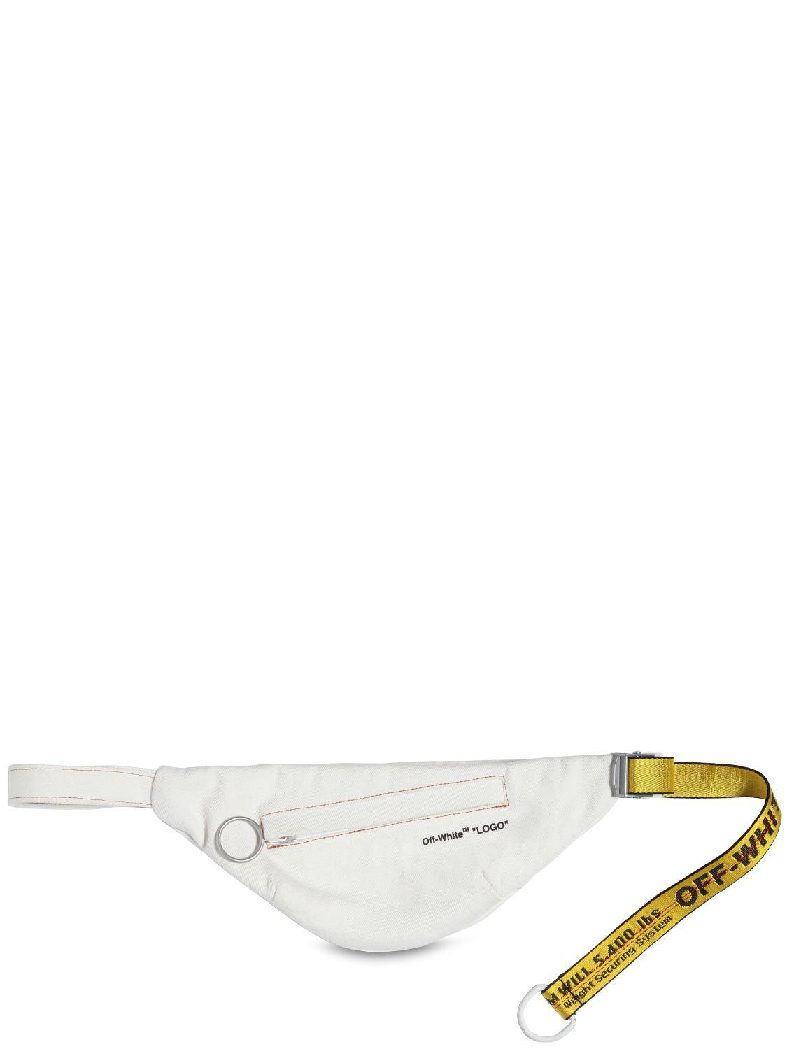 962e020eaa86a Off-White c/o Virgil Abloh. Men's White Logo Strap Cotton Denim Belt Bag