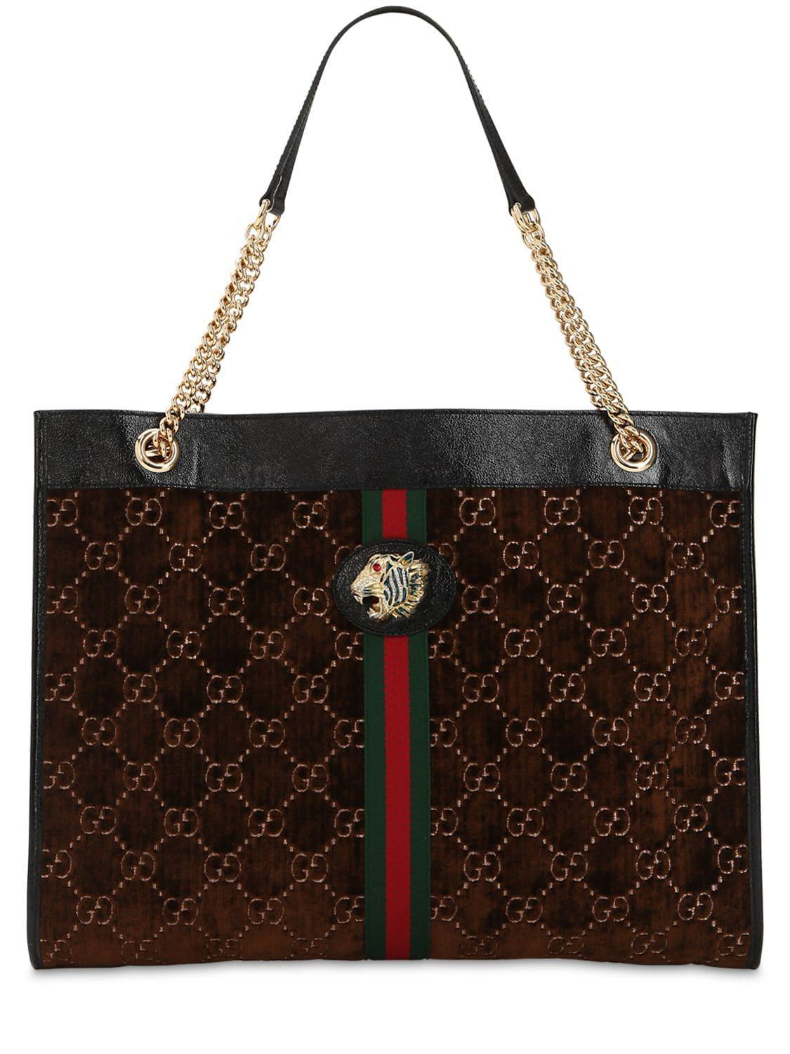 996824a1e8d Lyst - Gucci Large Rajah Gg Velvet Tote Bag in Brown