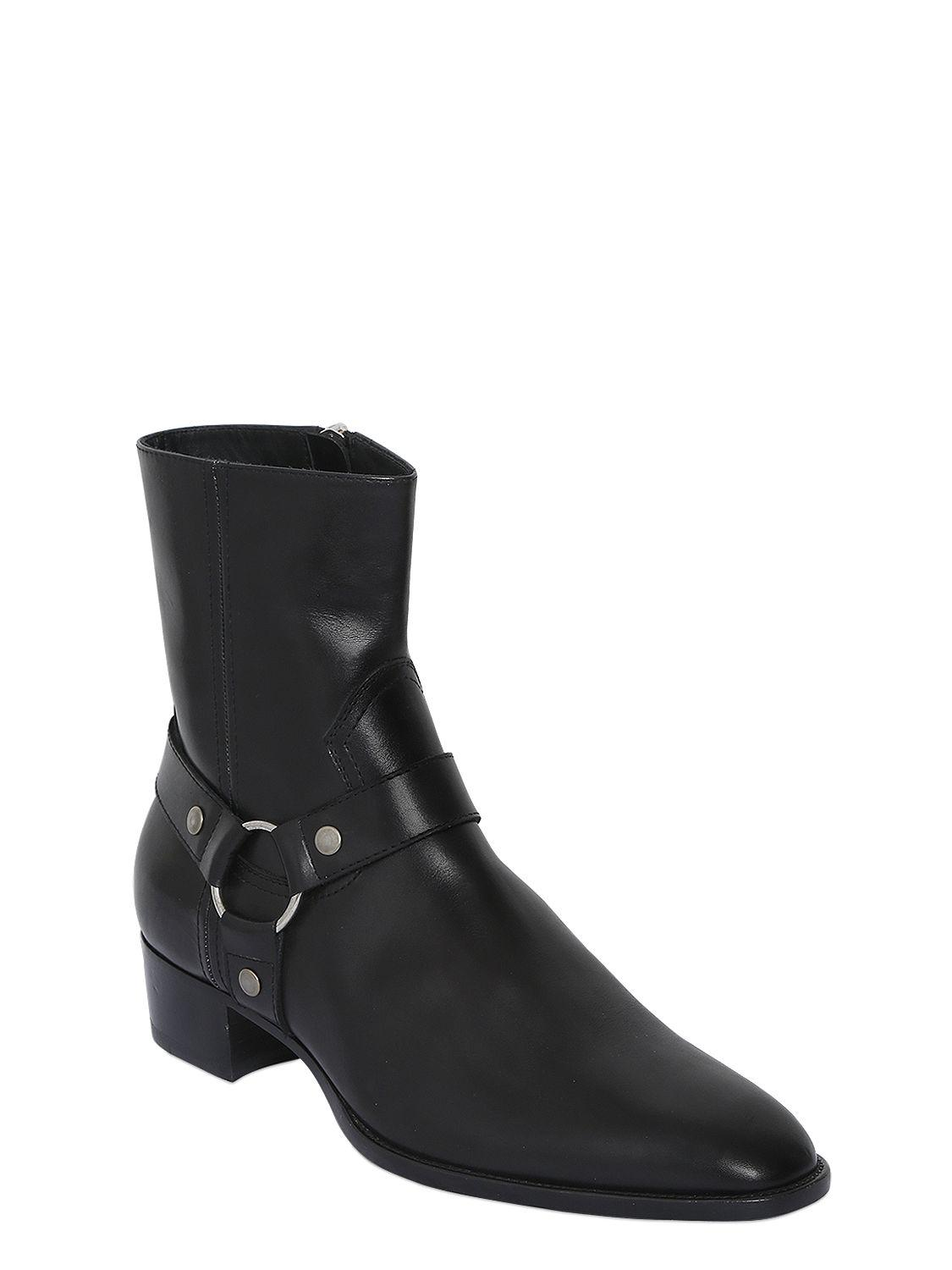 Saint Laurent 40MM WYATT BELTED LEATHER CROPPED BOOTS G3OfvqxG