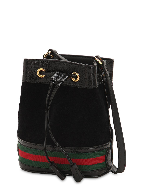 fe2e892634b4 Gucci - Black Mini Ophidia Suede Bucket Bag - Lyst. View fullscreen