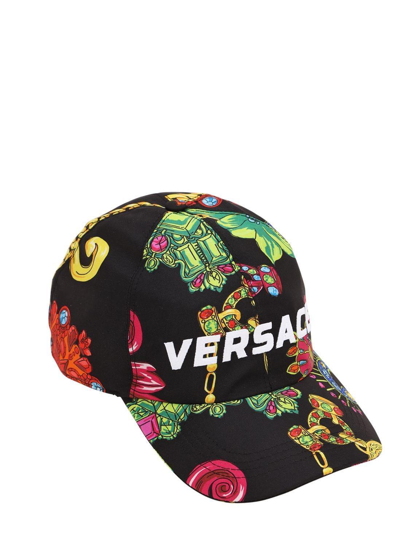 0d958d9498c75 Versace Jeté Jewelry Printed Silk Baseball Hat in Black for Men - Lyst