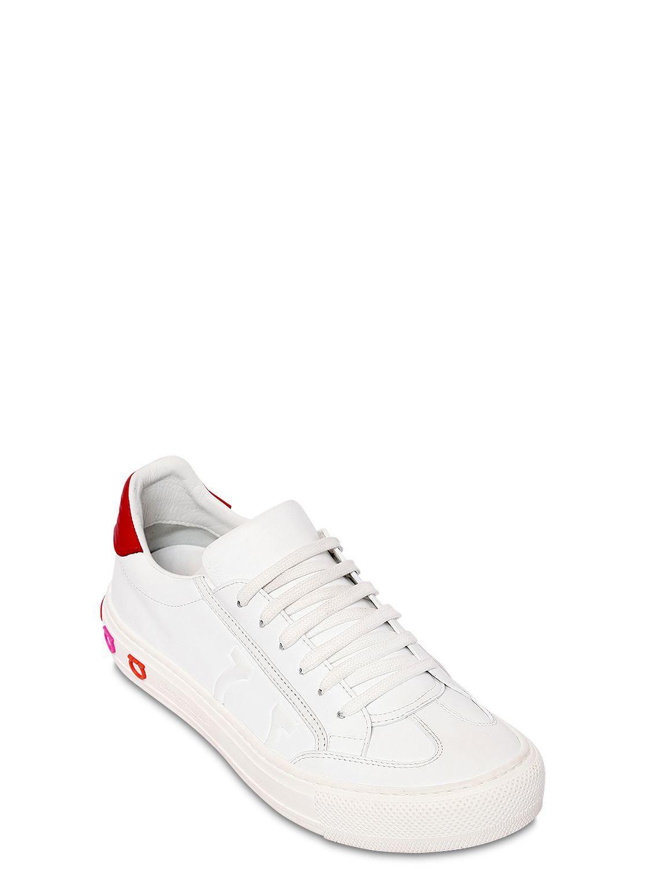 c8cea73fe3 Lyst - Ferragamo 40mm Borg Leather Sneakers in White - Save 42%