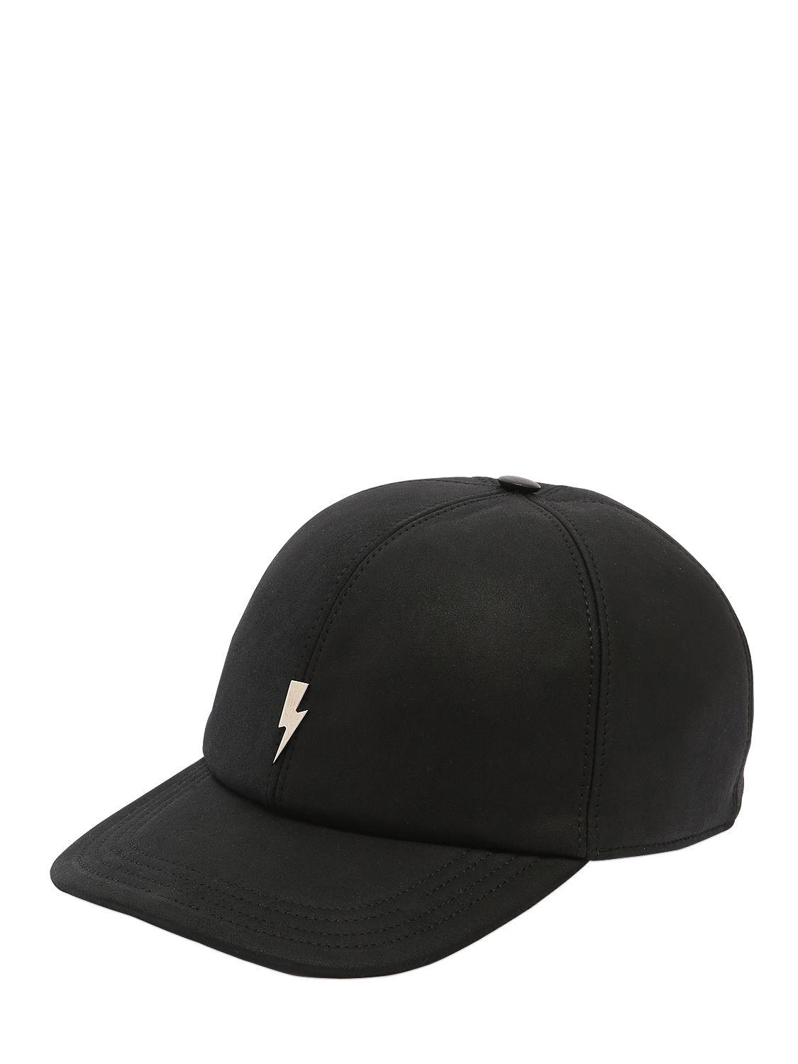d0f6e3b2d29 Neil Barrett - Black Bolt Leather Baseball Hat W  Embroidery for Men -  Lyst. View fullscreen