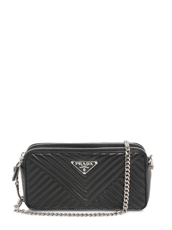 51550eb3fec2 Prada - Black Quilted Nappa Leather Shoulder Bag - Lyst. View fullscreen