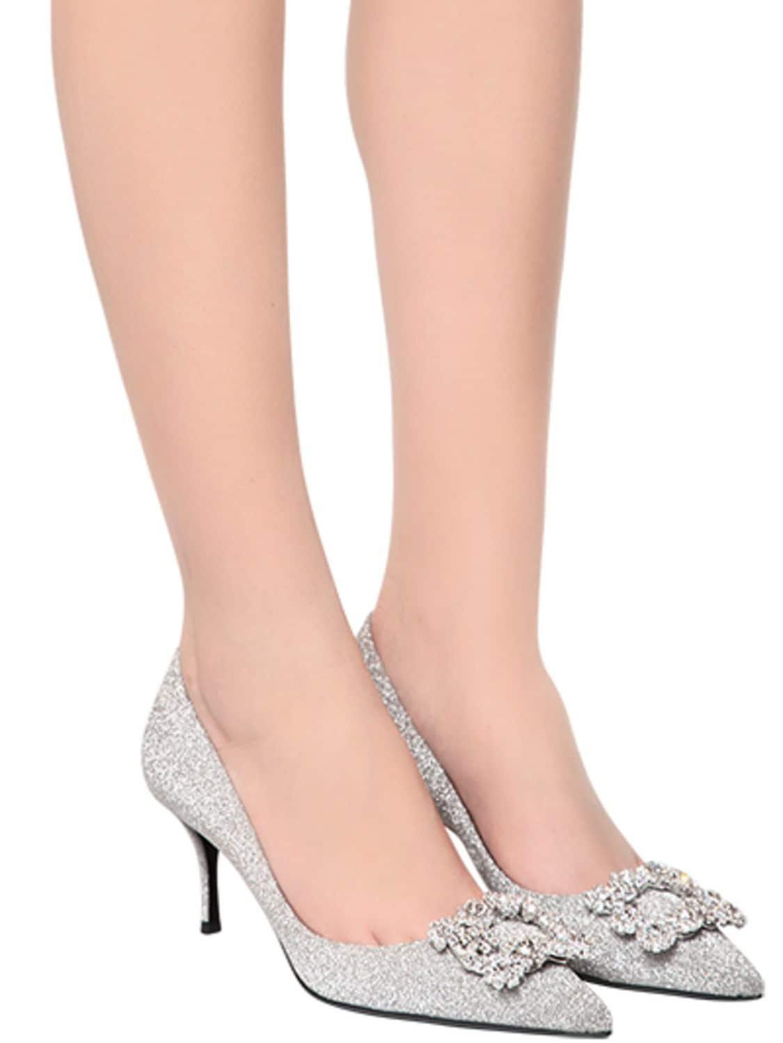 Zapatos Pumps Glitter Con Flor 65Mm Roger Vivier de color Metálico