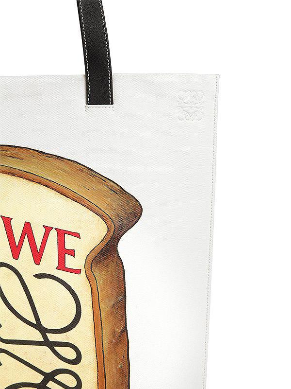 Loewe Toast Printed Cotton Canvas Tote Bag in White