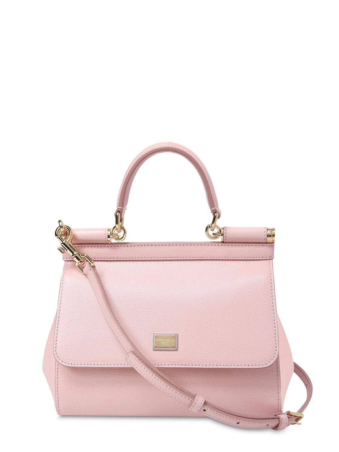 ba6664d966c Lyst - Dolce   Gabbana Small Sicily Dauphine Leather Bag in Pink