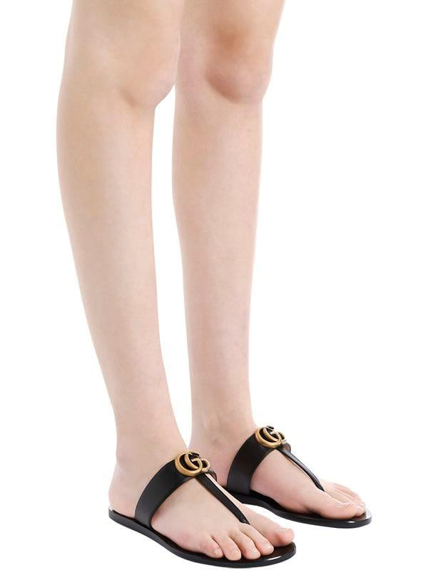b83f56665 Gucci - Black 10mm Marmont Leather Thong Sandals - Lyst. View fullscreen