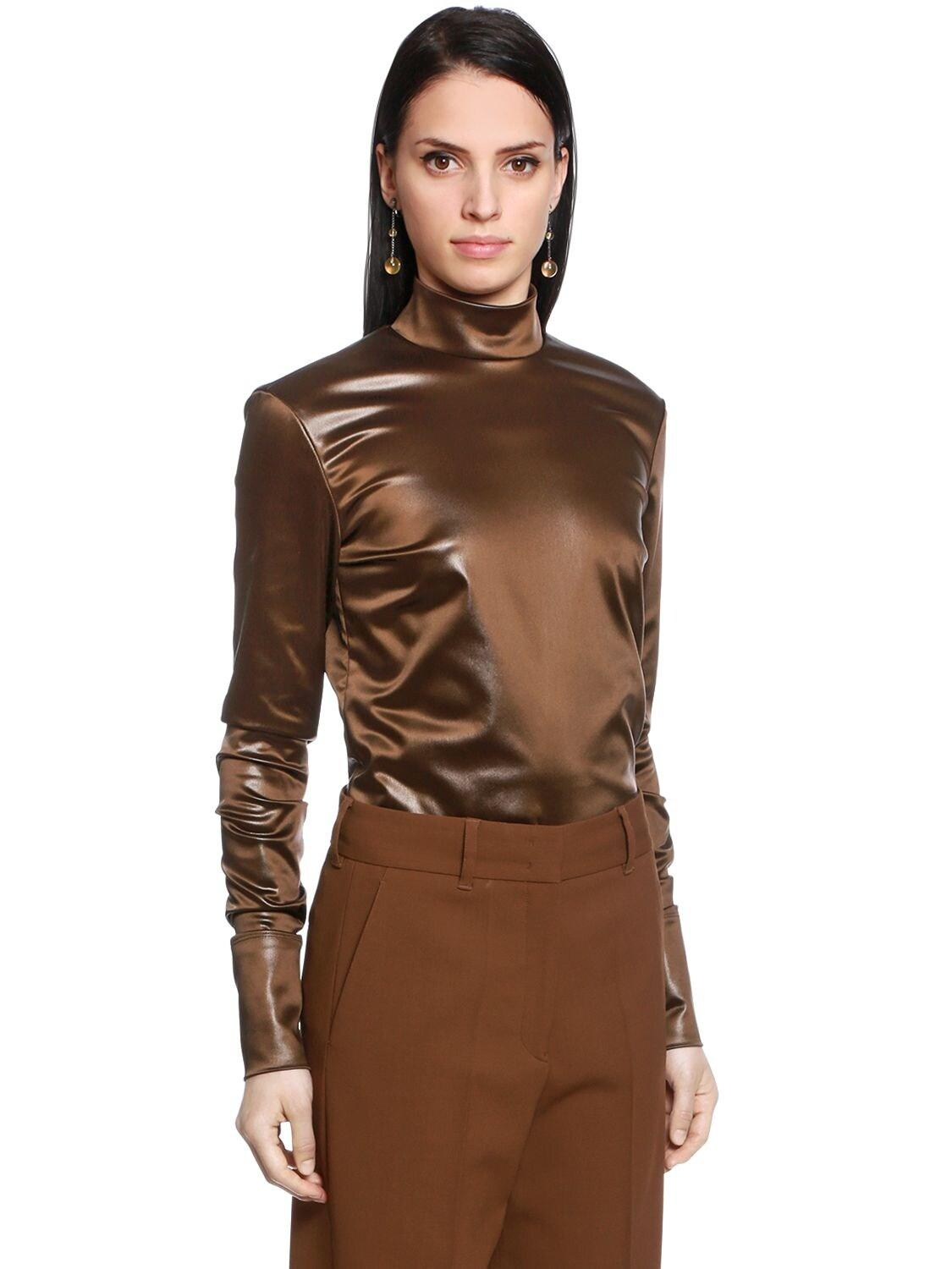 Jil Sander Stretch Satin Shirt in Dark Brown (Brown)