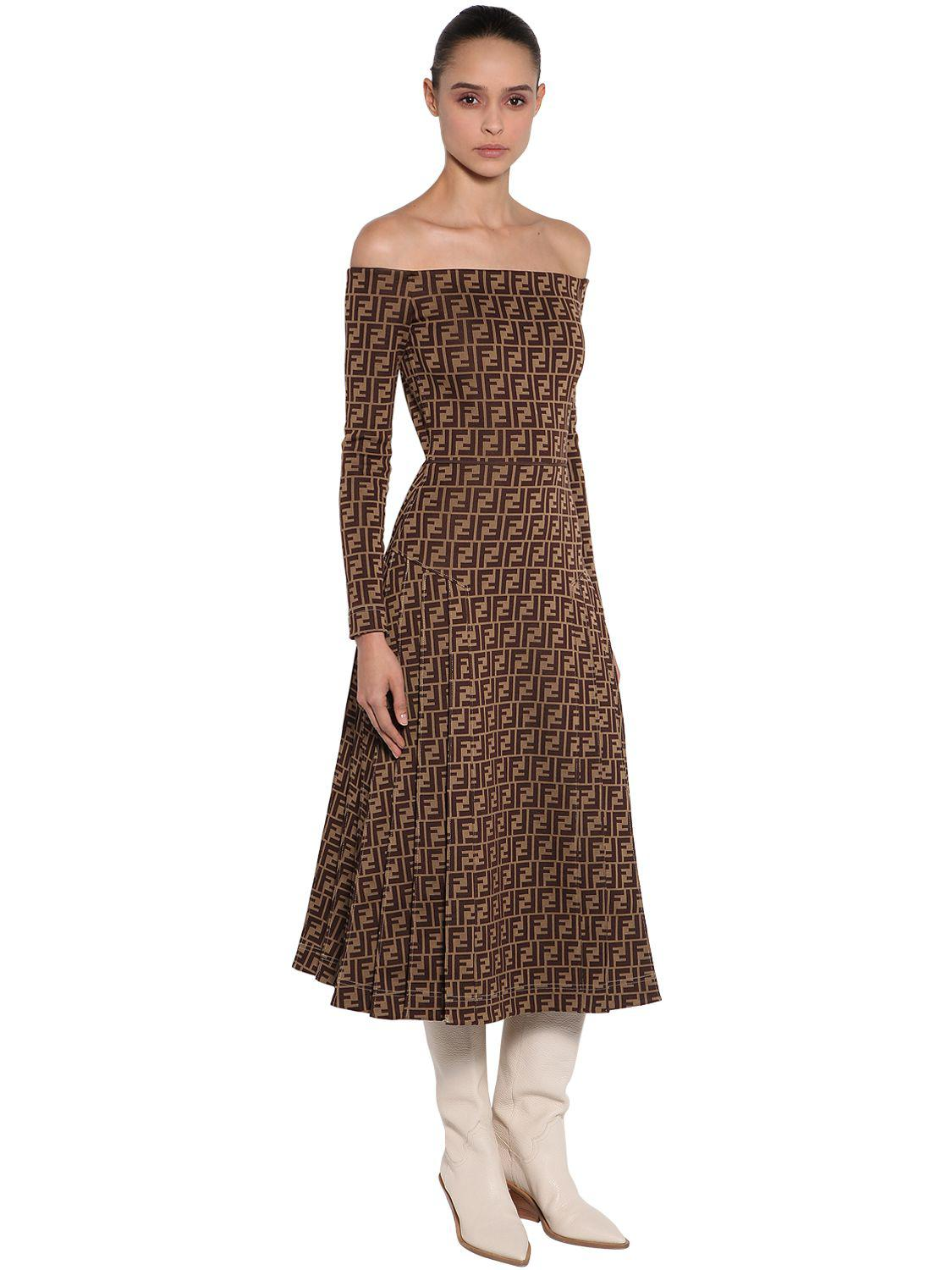 a9ca3f4d3840 Lyst - Fendi Off The Shoulder Printed Jersey Dress in Brown